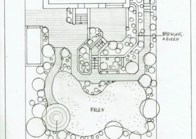 Gartenplan schwarz-weiß